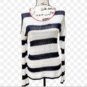 LUCKY BRAND Striped Open Knit Sweater Sz M